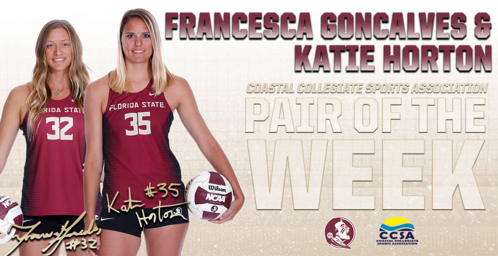 Florida State's Horton & Goncalves Earn CCSA Beach Pair Of The Week