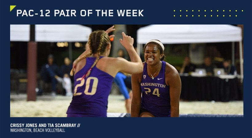 Washington's Jones, Scambray Earn Pac-12 Beach Pair Of The Week