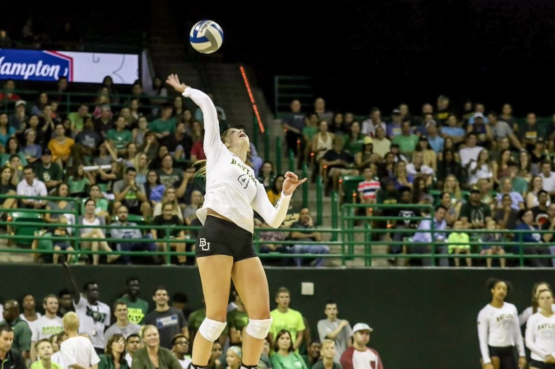 #24 Baylor Rebounds after Dropping 1st Set to Topple Texas State in 4