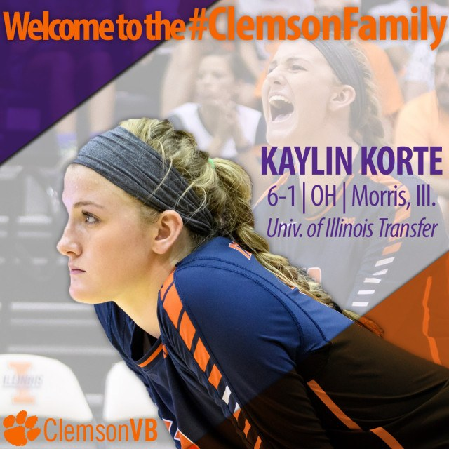Clemson Adds Another Transfer in Kaylin Korte for 2017