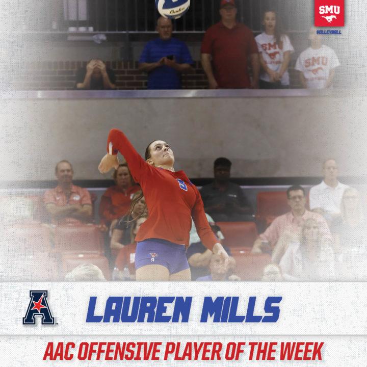 SMU's Lauren Mills Garners Second AAC Offensive POTW of 2017