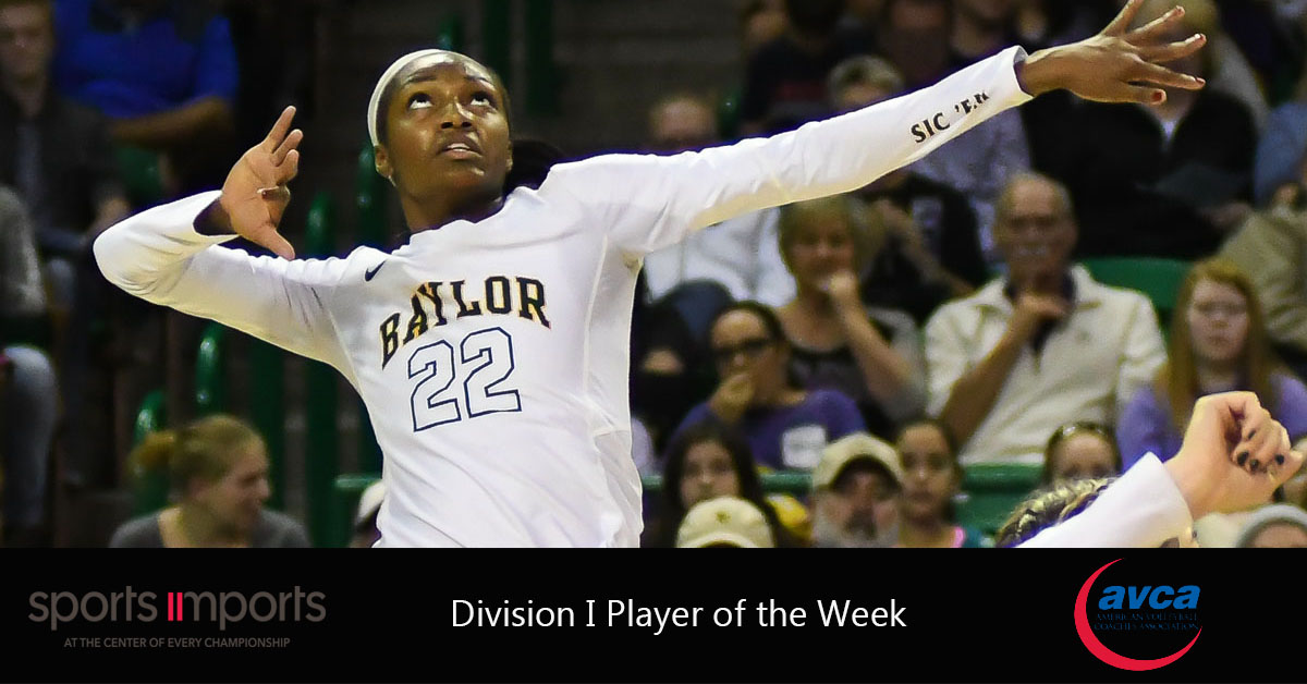 Baylor's Yossiana Pressley Named AVCA Player Of The Week