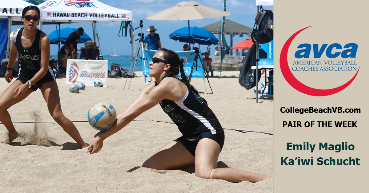 Hawaii's Emily Maglio/Ka'iwi Schucht Named AVCA Beach Pair Of The Week