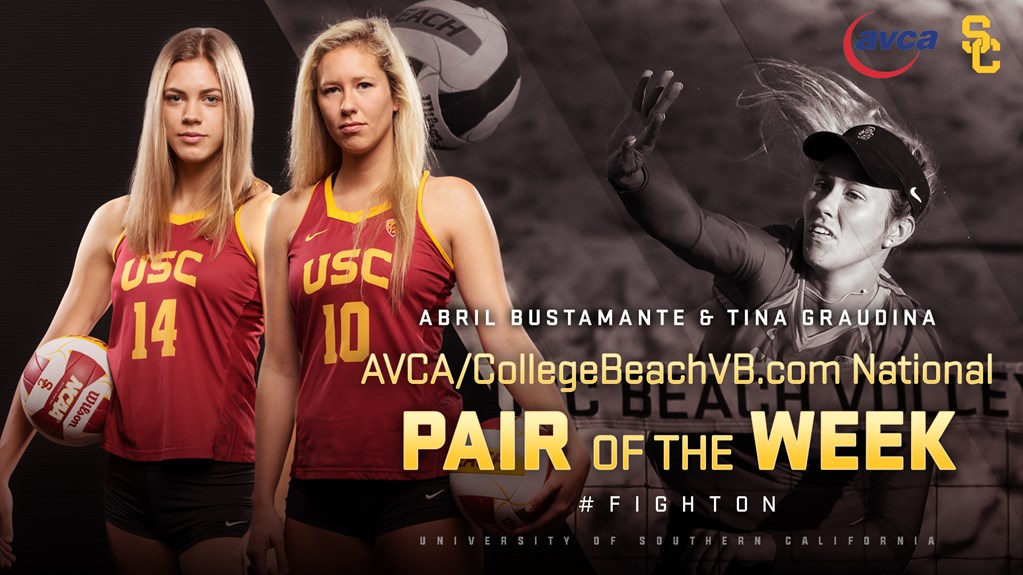USC's Bustamante/Graudina Named AVCA Beach Pair Of The Week