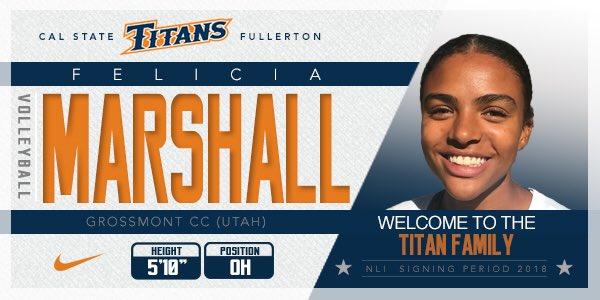 CS Fullerton Tacks on OH Felicia Marshall From Grossmont College