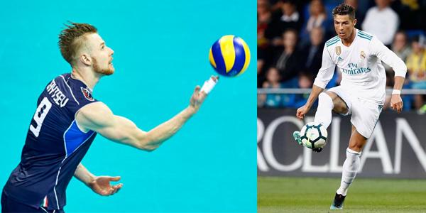 Italian Volleyball, Ivan Zaytsev Challenge Soccer's Cristiano Ronaldo