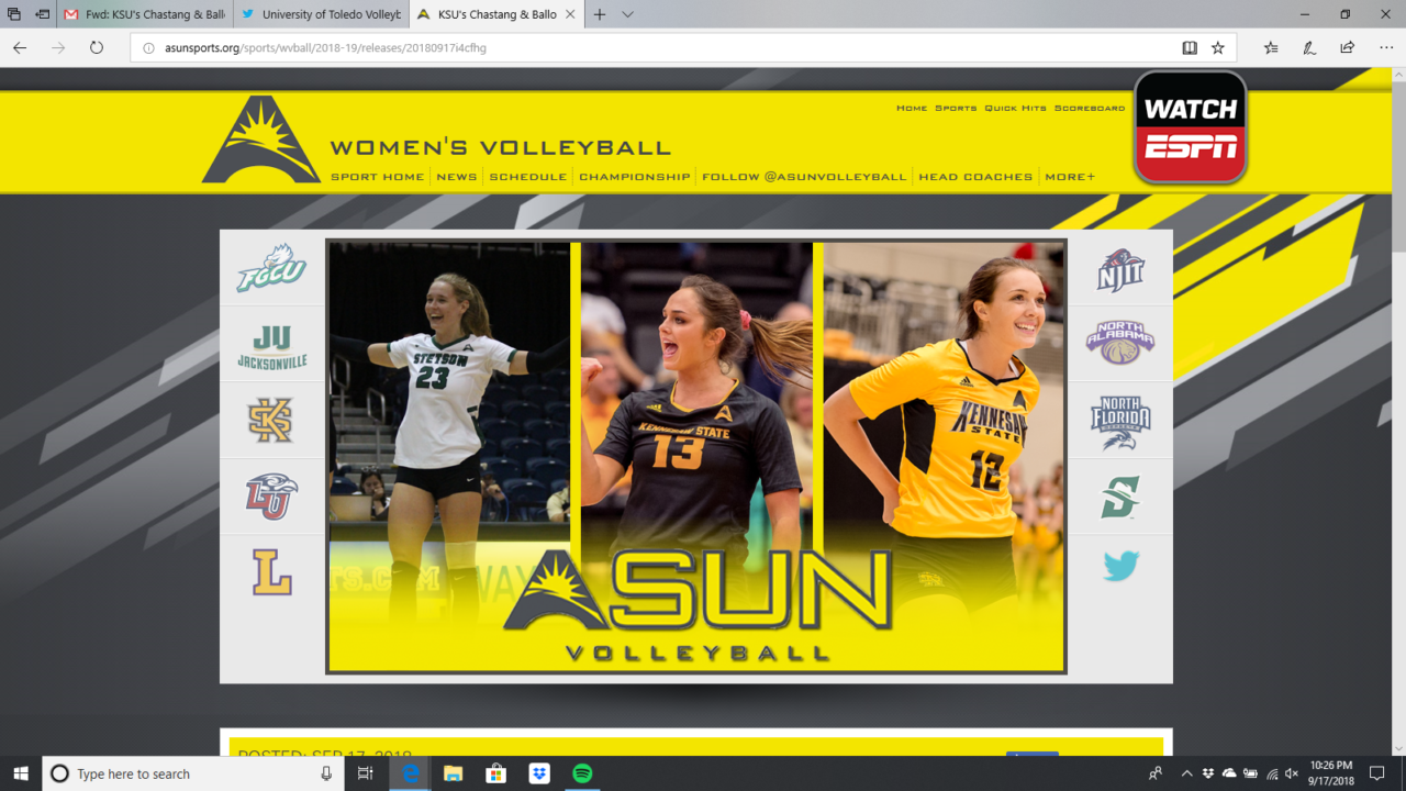 Kennesaw State, Stetson Nab ASUN Week 4 Honors