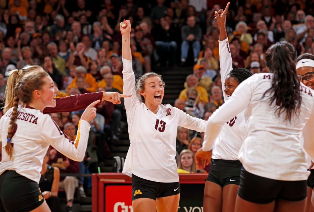 10-0: Rollins' 20 Kills Help #3 Minnesota Rally Past #5 Nebraska in 4