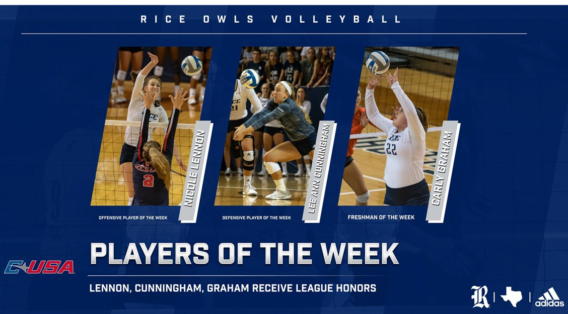 Rice's Lennon, Cunningham, Graham Headline C-USA Week 6 Honorees
